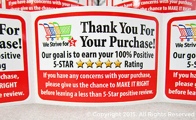 1000 Amazon eBay etsy Thank You For Your Purchase Labels Stickers 5 Star FB 2x3 (Etsy Ebay)