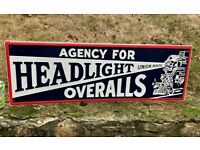 "12"" x 36"" HEADLIGHT OVERALLS ""Union Made"" Tin Metal Sign"