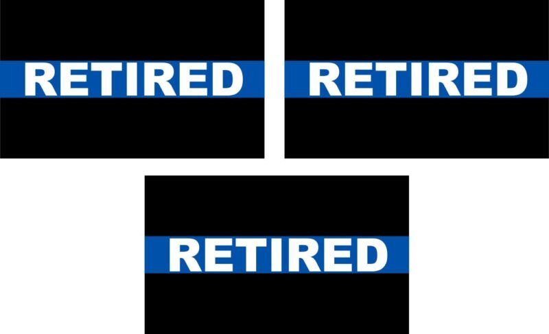 """Thin blue line decal - RETIRED PACK X 3 - 3"""" x 1.75"""" Reflective Decals Free Ship"""