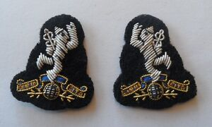 Royal-Signals-Collar-Badges-Mess-Dress-Army-Corps-Military-Dogs-Pair-New