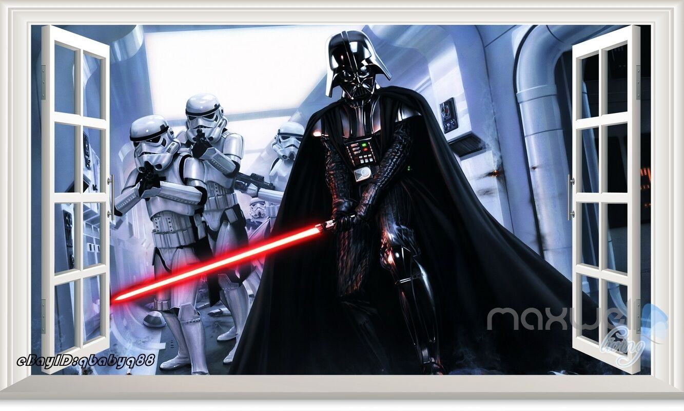 wars darth vader 3d window view wall sticker removable decal mural gift ebay
