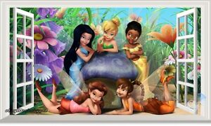 60x100cm TinkerBell & Fairy 3D Window Wall Decals Removable Kids Decor Stickers
