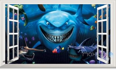 Finding Nemo Dory Shark Fish 3D Window Wall Decals Removable Stickers Kids  Decor
