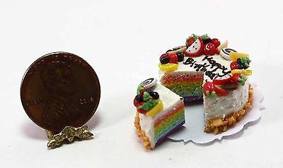 Dollhouse Miniature Happy Birthday Vanilla Frosted Rainbow Layer Cake with Slice