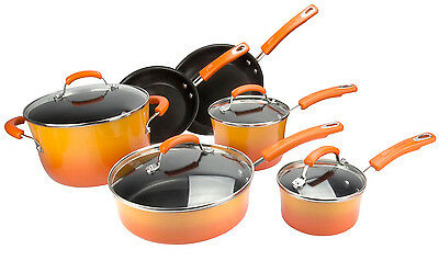 Rachael Ray 10-Piece Kitchen NonStick Hard Enamel Cookware Set Pots Pans -Orange