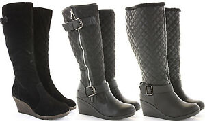Womens-Wedge-Shoes-Wedges-High-Heels-Platform-Winter-Knee-Boots-Size