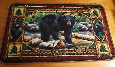 Black Bear Cubs THICK RUBBER BACK Kitchen Rug Door Mat Cabin Lodge Home Decor - Bears Decorations