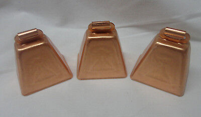 """Bright Copper-Coated Cow Bell 2"""" Lot of 3"""