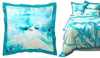 Anthropologie Lagoa Euro Sham Blue Cotton + Silk $98 Stevie Howell GORGEOUS NIP