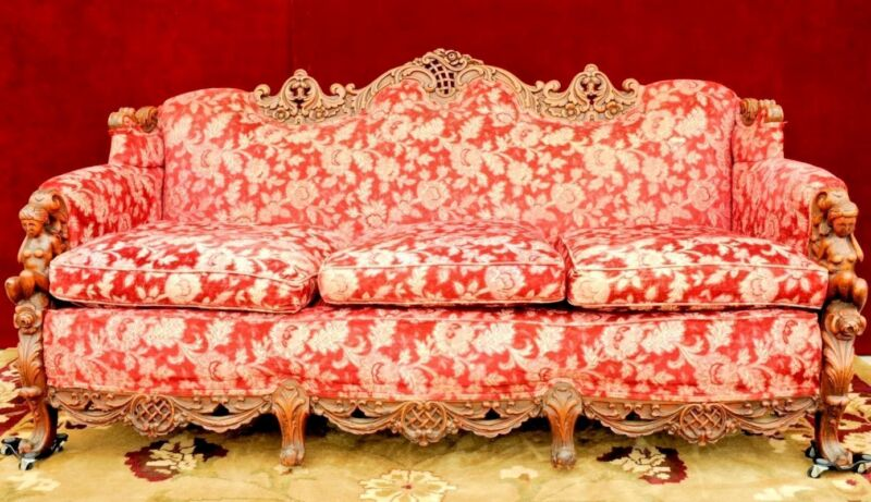 Gimbles Figural Sofa Matching Chair Carved  Heads Arms  Vintage
