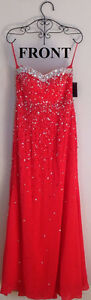 **BRAND NEW* Elaborate Floor Length Beaded Bodice Red Gown Dress Kitchener / Waterloo Kitchener Area image 5