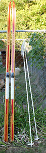 Classic wooden X-Country skis,poles and bindings