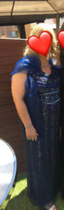 Royal blue Beaded dress with shall for $175