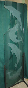 Leaping Dolphins 3D Etched Glass Partition / Room Divider - Sign