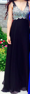 extra small/small black with jewels prom dress worn once!