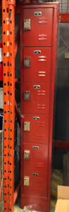 Metal Lockers, Red. Single tower 6 units high. Many available