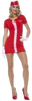 Mod Flight Attendant Stewardess Retro Sexy Halloween Adult Costume 2 COLORS - Retro Stewardess Halloween Costume