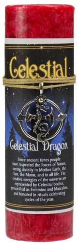 Celestial Dragon Pillar Candle With Ritual Necklace Wholesale Wiccan Witchcraft