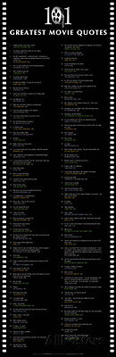 101 Greatest Movie Quotes Poster Print, 12x36