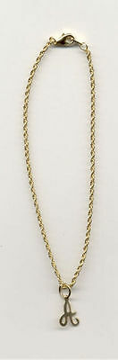 10.5 INCH 14KT GOLD EP SMALL ROPE ANKLET WITH YOUR  INITIAL