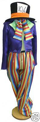 MALE Alice in Wonderland Parties Shows Mad Hatter Striped Costume ALL SIZES/PLUS