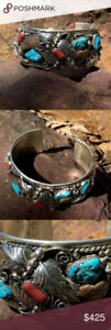 Stirling silver turquoise mens cuff braclet