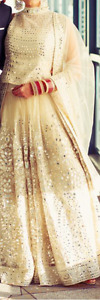Champaign Gold Indian Bridal Lengha with Mirrors