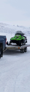 3 place Triton trailer and arctic cat snowmobile