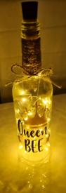 Handmade bottle with lights 'queen bee'