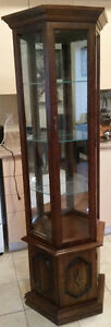 Tall Glass Display Cabinet with 3 Shelves, Mirrored back & Light
