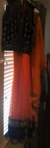 Indian Bollywood-Beautiful designer Orange and Black Anarkali.