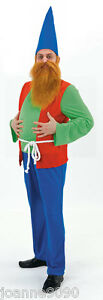 *MENS ADULT FAIRY TALE PANTO GARDEN GNOME DWARF STAG FANCY DRESS COSTUME OUTFIT*