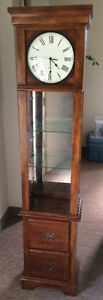 Grandfather Style Clock w Glass Display Cabinet - Solid Wood