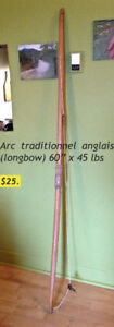 Arc traditionel de type ¨longbow¨, 60 ¨ de long x 45 lbs