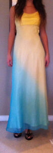 Yellow/Aqua prom/bridesmaid dress