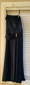 Strapless navy satin evening gown size 10