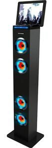 AR+SOUND AR1004BK Bluetooth LED Lights Tall Tower Stereo Speaker