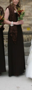 Gorgeous Chocolate Brown Full Length Gown (Size 2) and Pashnena