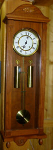 """Urgos Solid Thick Oak 2 Weight Wall Clock 42"""" Long Germany"""