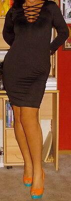 Ausschnitt Bandage Kleid (Sexy Damen-Partykleid Midi Bodycon Bandage-Ausschnitt Schwarz Gr. 42/44 NEU)