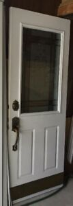 White Steel Front Door with Decorative Glass Insert