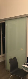 Frosted-glass sliding barn door w/track