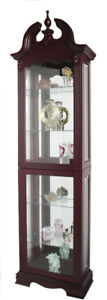 Curio Display Cabinet in Cherry Finish, New