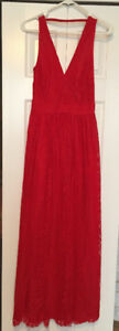 BEBE red lace maxi