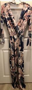 Ladies  Jumpsuit-Blush Velvet/Navy-UK designer-UK Size 8/US 6