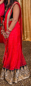 Indian Lengha CholiI - Red, Gold, Black