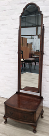 Queen Anne Style Cheval Mirror (DELIVERY AVAILABLE)