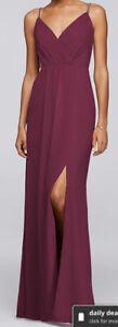 Size 2 David's Bridal Burgundy Bridesmaid Dress