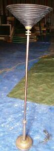 Lampe torchèere sur pied avec abat-joen cuivre - Antique