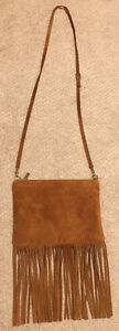 Small tan suede leather Garuglieri purse like new
